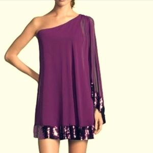 Plum, sequined chiffon one shoulder dress